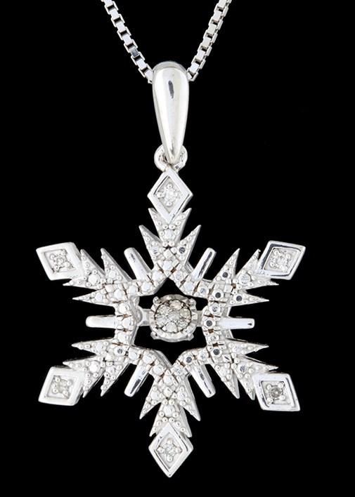 Rhythm of love diamond 005ctw snowflake pendant in sterling rhythm of love diamond 005ctw snowflake pendant in sterling silver aloadofball Image collections