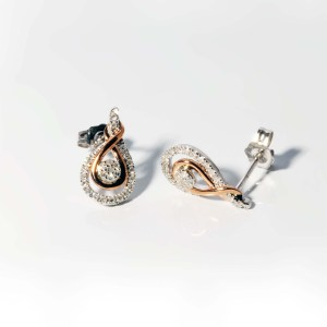 Love's Crossing 10k White and Pink Gold .21 Carat Total Weight post Earrings