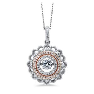 Silver and Rose Gold Plate Pendant Necklace Studded with CZ Gemstones
