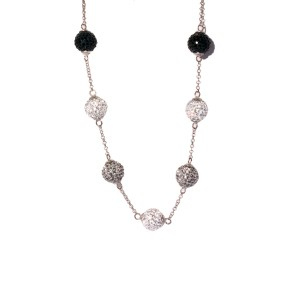 Round Cable Link Necklace w/ Black, White and Silver Balls in Sterling Silver