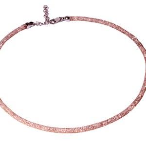 Sterling Silver Rose Crystal Filled Necklace