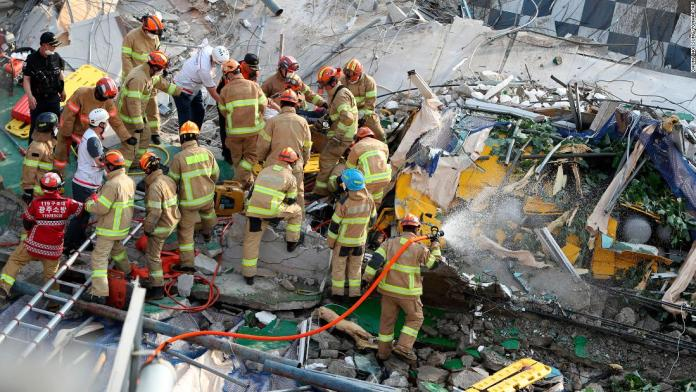 South Korea building collapses onto bus during demolition, killing 9