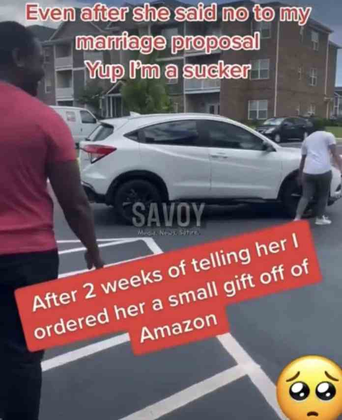 Man buys a brand new car for his girlfriend after she rejected his marriage proposal(Video)