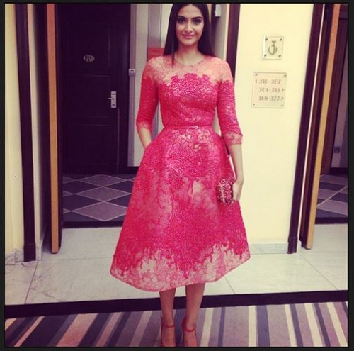 Sonam Kapoor in an Elie Saab dress for the opening night dinner. Source: Bollywood's Biggest Fan Club - BBFC