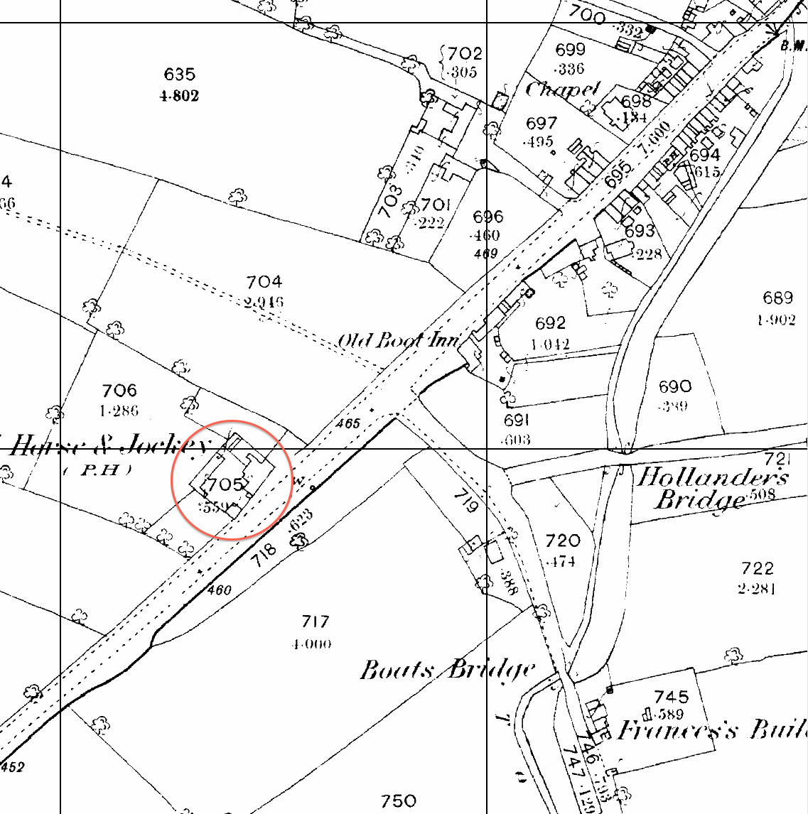 1884 1 2 500 scale ordnance survey map fragment showing the horse and jockey before highfield farm was built it seems to have doubled as a farm
