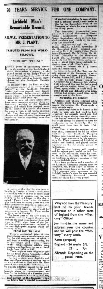 A remarkable life. From the Lichfield Mercury, Friday, 6th March 1936. Click for a larger version.