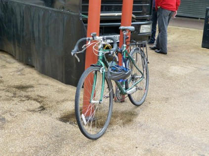I don't know who it belonged to, but this racing green Claude Butler is a beautiful, well-loved steed.