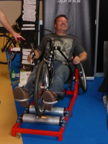 On the Wheels for All stand, guys were doing sprint rolling challenges on hand cycles. These guys could go.