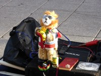 This wee dancing puppet was accompanying a busker in High Street. I never noticed the interesting array of surrounding stuff when I took the photo.