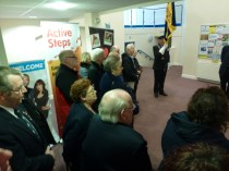 Some of the large number of British Legion members who respectfully attended this unveiling ceremony in Brownhills Library. Image kindly supplied by David Evans.
