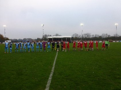 Visitors Long Eaton shake hand with Walsall Wood players before playing. Image courtesy David Evans.