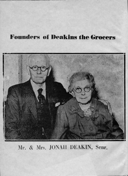 1950 Deakin Jonah & Jane founders of Deakins the Grocers