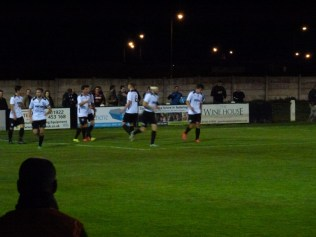 Hereford celebrate their first goal, of six.