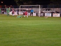 Alvechurch player falls as Wood nearly score