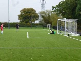 Crisp penalty shot, well saved