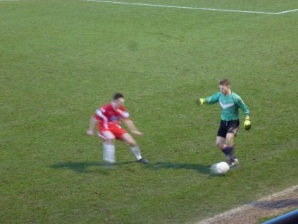 Near innovative move by Loughborough keeper, near the halfway line