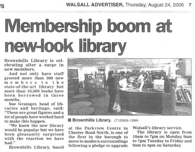 Brownhills Library Walsall Advertiser 24-8-06