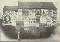 Posters on a building in Cleveland Street, 1866