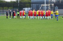 Players shake hands before the start of the match where the Wood sparkled