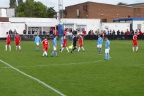 Full time and players shake hands. Wood won, but it was a naitbiter of a contest today.