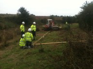 Volunteers from Amey creating a picnic area on the Heritage Towpath Trail at Summerhill