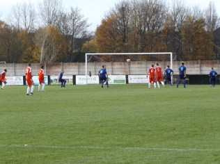 Second half goalmouth action as the Wood increase the pressure on Stourport. Nearly, nearly a goal.