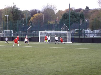 Second half goal mouth action by the Wood