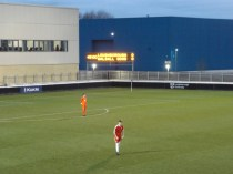 The first half ends and players and spectators head for somewhere warmer, perhaps a cup of cocoa