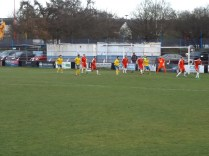 Incoming from a Tividale corner, and a kerfuffle develops; one of several to test the Wood