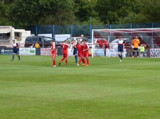 Celebration time after the first goal to the Wood.