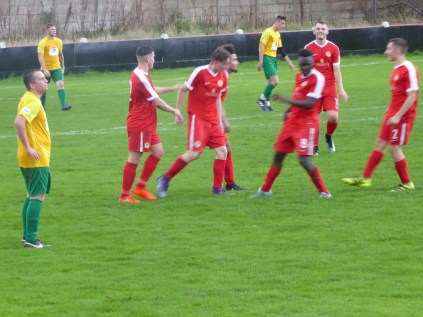 Elation after the Wood's second goal is achieved in the first half.