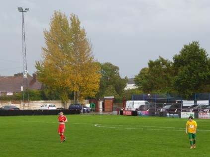 First half and the home half of the pitch looks very empty in the autumnal late September rain