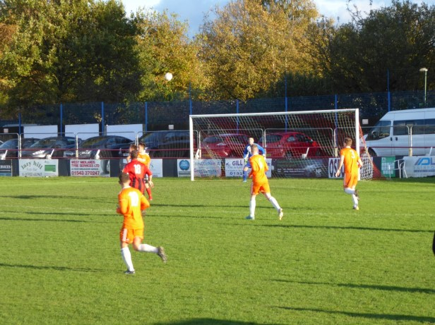 One Pelsall attacker takes on Montpellier in the first half