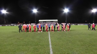 Pre-match handshake to herald a very sporting contest this bitingly cold evening where the few spectators would witness an enjoyable display of soccer by two local teams , played in good spirit and sporting manner throughout the match.