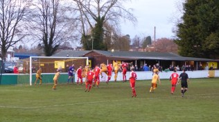 Late in the first half and the Wood are confronted by a heavily defended Stourport goalmouth. Spot the ball.