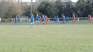 Second half and Copsewood race back as the referee raises his arm to ( correctly) disallow the goal as the linesman continues to wave his flag furiously to attract the attention of the ref. Bless
