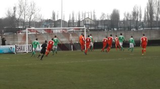 A good attacking move by Brocton and so nearly the equalising goal. First half