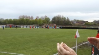 Second half and first goal, to the Wood. There, in the distance.