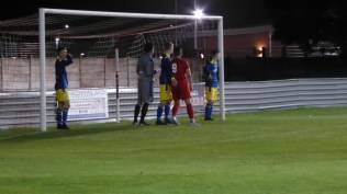 Uttoxeter's goalkeeper in interesting unseen action. Wood corner. There were several odd moments here.