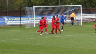 Wood players celebrate their first goal, as away fans celebrate as they know how. Love the Wood.