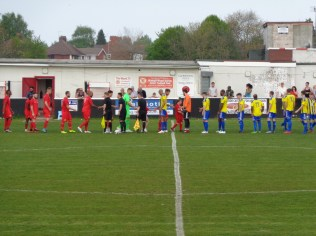 Sporting Khalsa are the visitors today and play in yellow and blue.