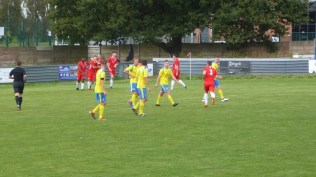 a brief moment of celebration as the Wood score their first goal to take the lead.