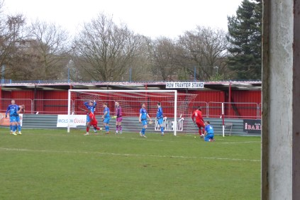 and within a few moments of the second half starting the Wood score the first goal.