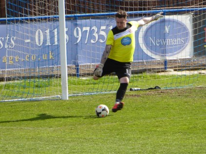 Wood's keeper in artillery action. Both keepers played well in this sporting contest