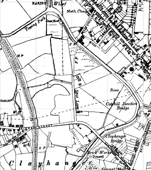 Clayhanger Common - then known as 'The Spot', from a 1956 OS survey. This was an area that later became a refuse tip. It was prone to flooding, and before drainage works and subsequent landscaping, the village regularly flooded.