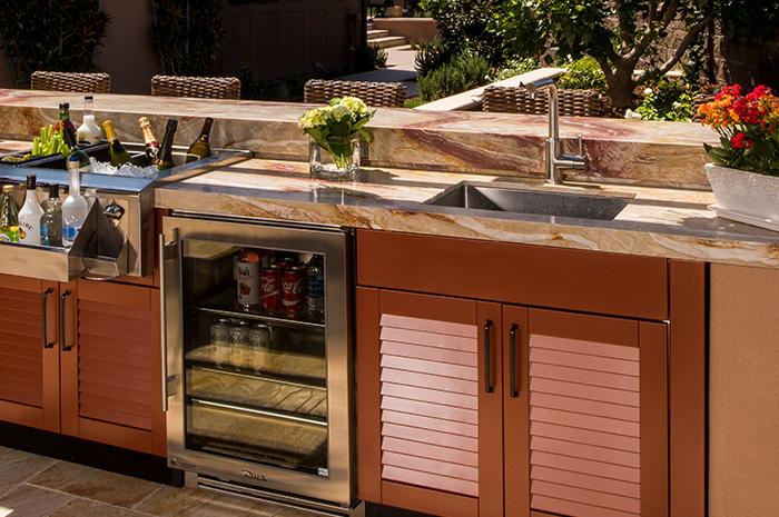 outdoor kitchen sink cabinet brown