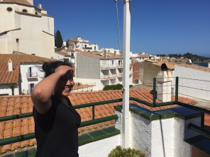 Natalia and the whitewashed walls of Cadaques