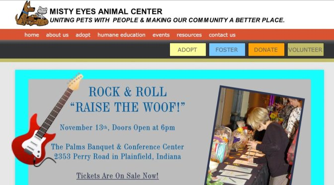 """Screen shot of Misty Eyes Animal Center web page promoting """"Raise the Woof!"""""""