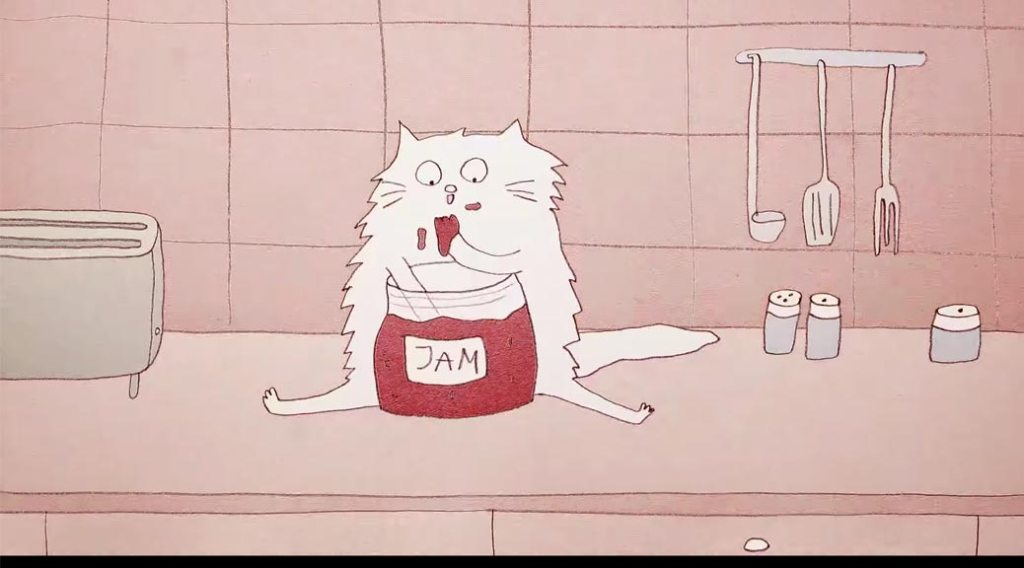 A cartoon cat sitting on a counter eating jam