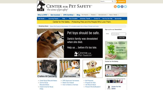 Center for Pet Safety home page screen shot